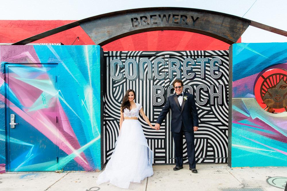 concrete beach brewery wedding photos